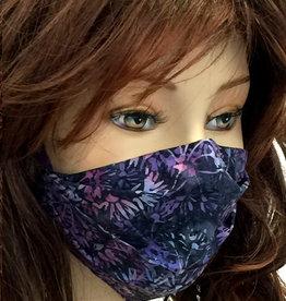 Stoffmaske, Mundschutz, MNS,  Dünne Sommermaske, Blumen lila-schwarz