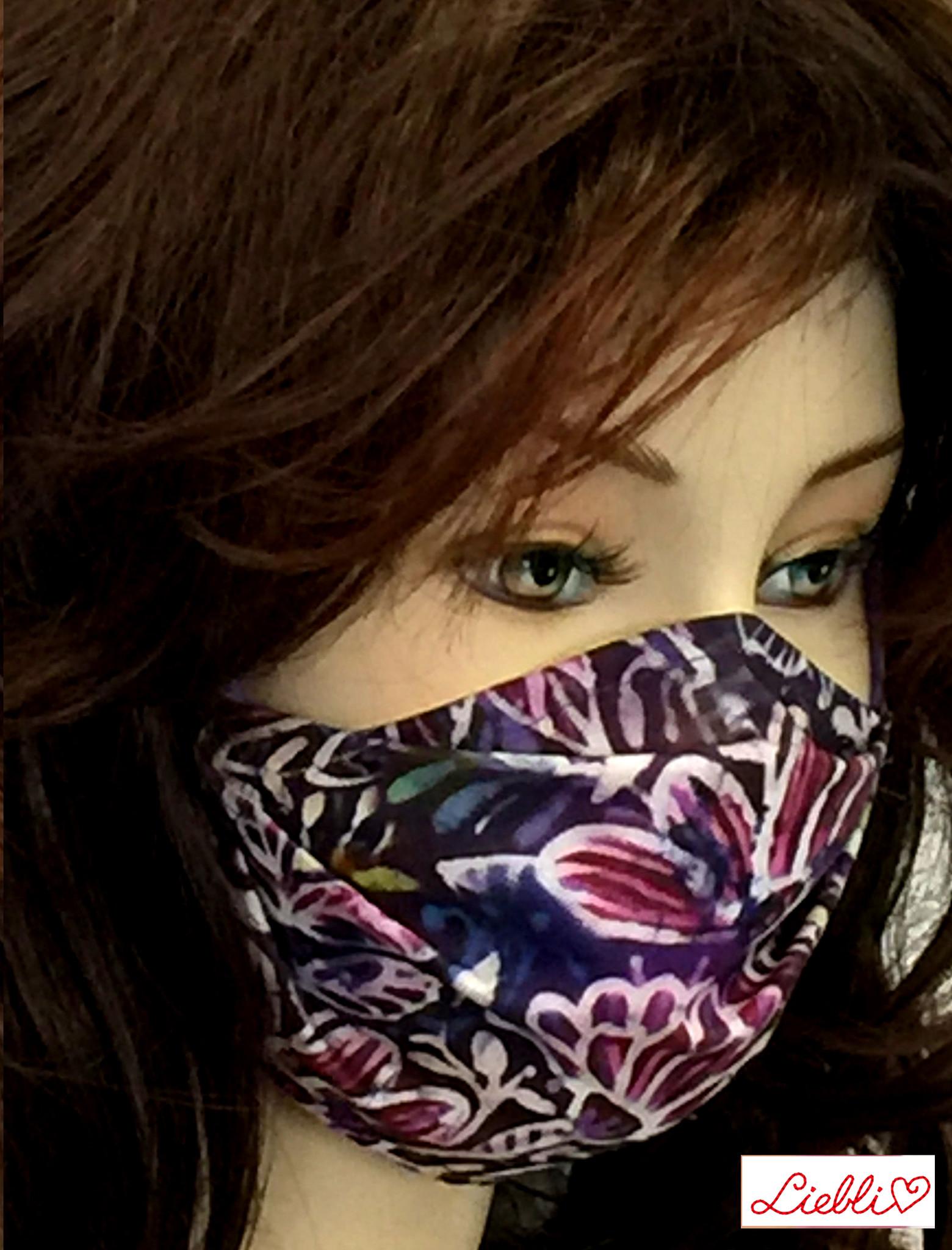 Stoffmaske, Mundschutz, MNS,  Dünne Sommermaske,  Blumen violett