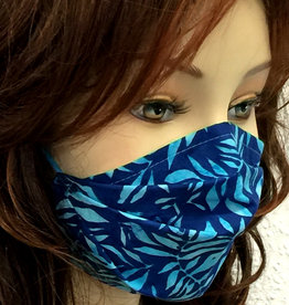 Stoffmaske, Mundschutz, MNS,  Dünne Sommermaske, Blätter blau-türkis