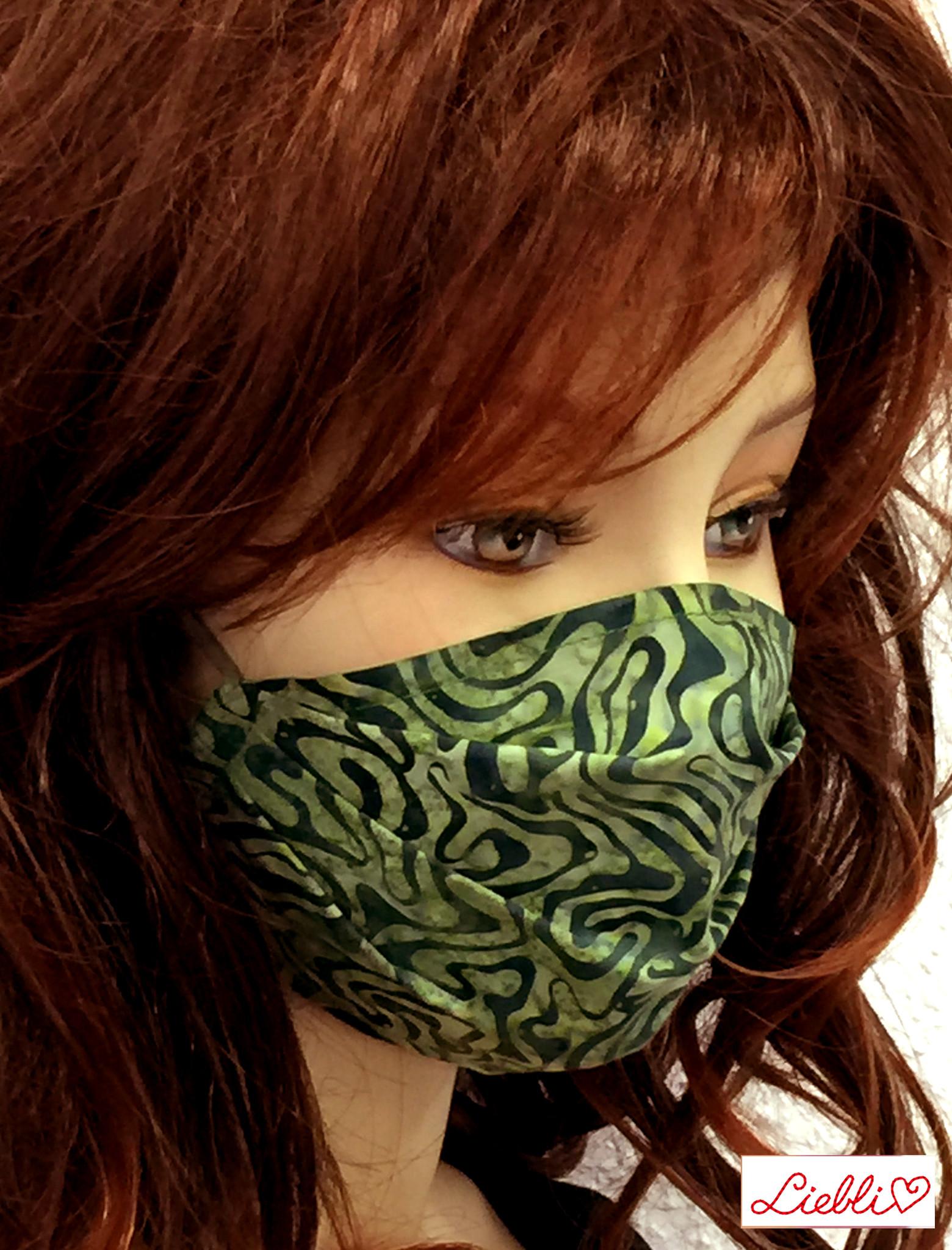 Stoffmaske, Mundschutz, MNS,  Dünne Sommermaske,  Labyrinth grün