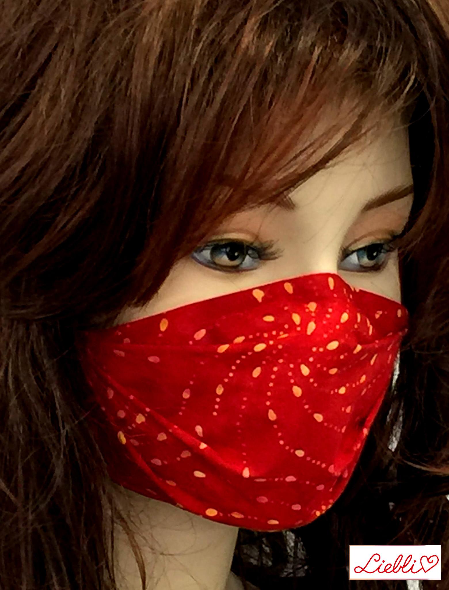 Stoffmaske, Mundschutz, MNS,  Dünne Sommermaske,  Punkte-Spirale rot