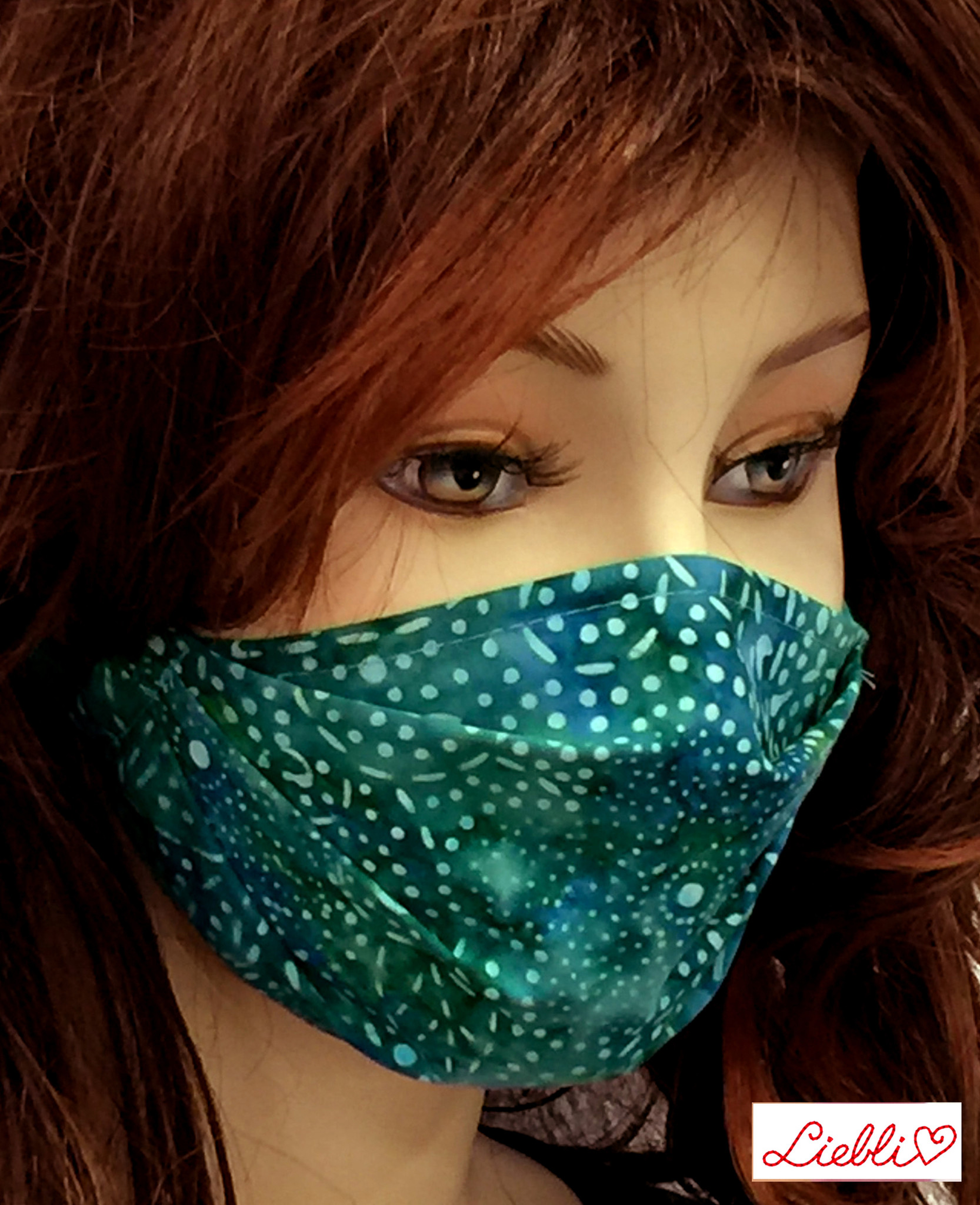 Stoffmaske, Mundschutz, MNS,  Dünne Sommermaske, Punkte-Blümchen blaugrün