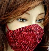 Stoffmaske, Mundschutz, MNS,  Dünne Sommermaske, Tröpfchen dunkelrot