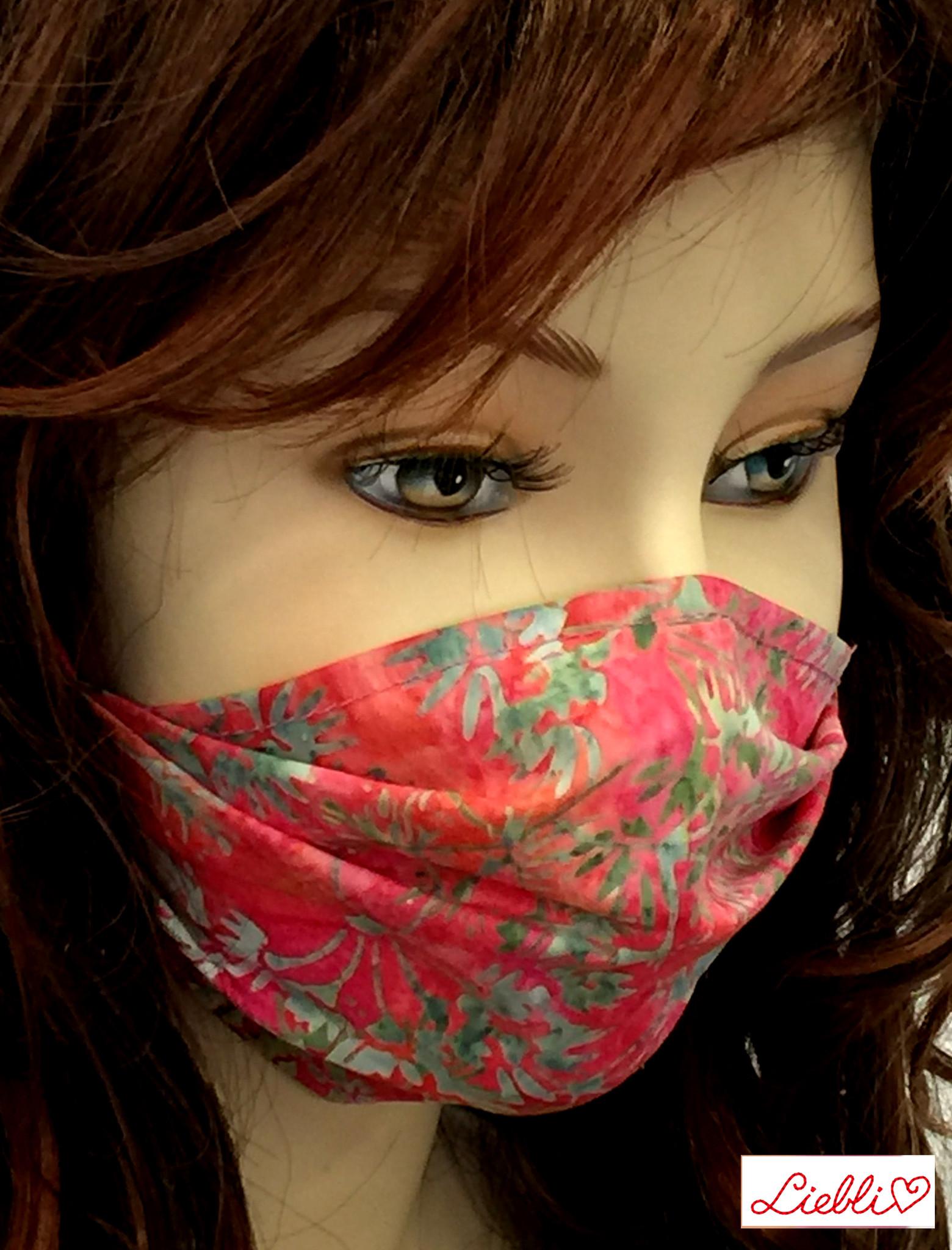 Stoffmaske, Mundschutz, MNS,  Dünne Sommermaske, Blumen pink-grün