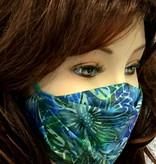 Stoffmaske, Mundschutz, MNS,  Dünne Sommermaske, Blumen blau-grün