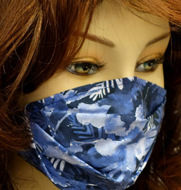 Stoffmaske, Mundschutz, MNS,  Dünne Sommermaske, Tropenblumen blau