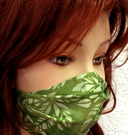 Stoffmaske, Mundschutz, MNS,  Dünne Sommermaske, Blätter grün
