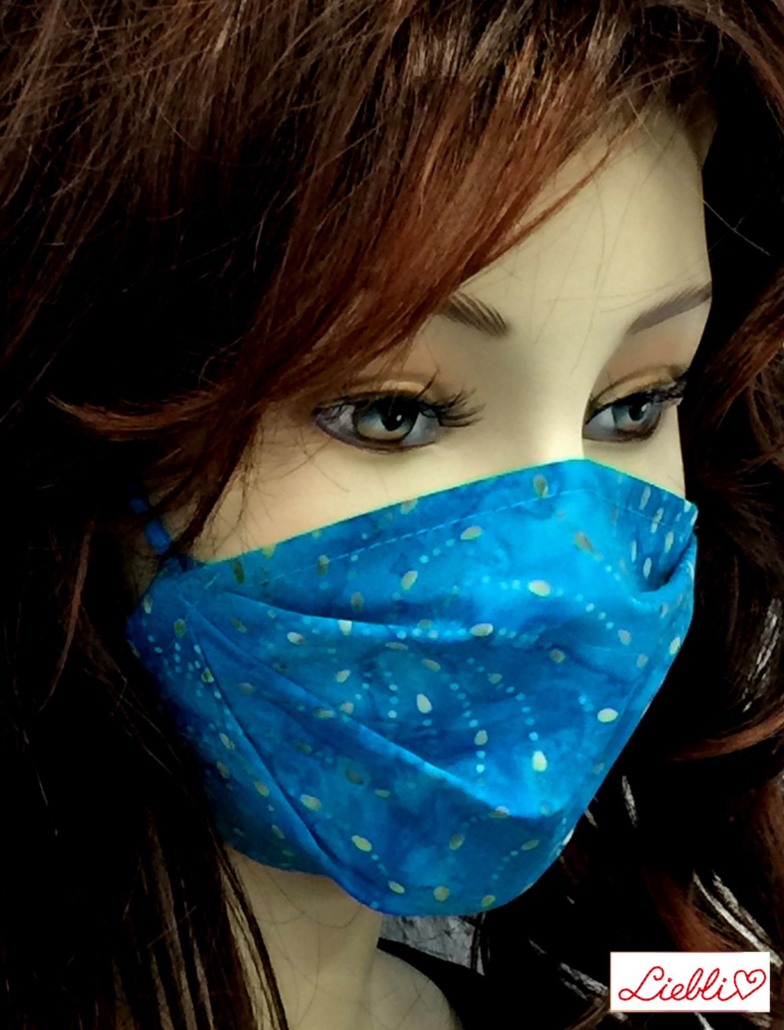 Damen Stoffmaske, MNS, Stoffmaske für Damen, Baumwollmaske, Punkte-Spirale türkis
