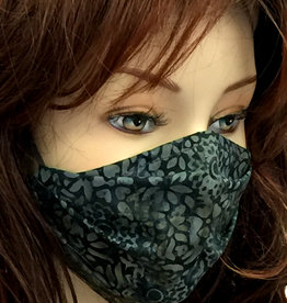 Damen Stoffmaske, MNS, Stoffmaske für Damen, Baumwollmaske, Blumen grau