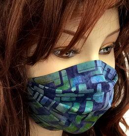 Stoffmaske, Mundschutz, MNS,  Dünne Sommermaske,  abstrakt blau-grün