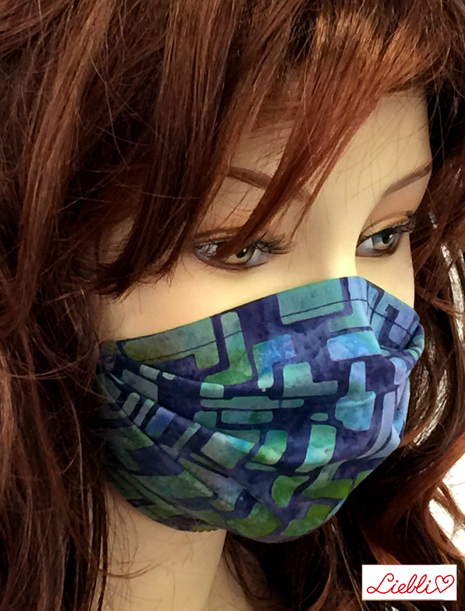 Damen Stoffmaske, MNS, Stoffmaske für Damen, Baumwollmaske  abstrakt blau-grün