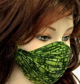 Stoffmaske, Mundschutz, MNS,  Dünne Sommermaske,  Kästchen grün