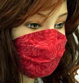 Damen Stoffmaske, MNS, Stoffmaske für Damen, Baumwollmaske, Rosen / Blumen Rot