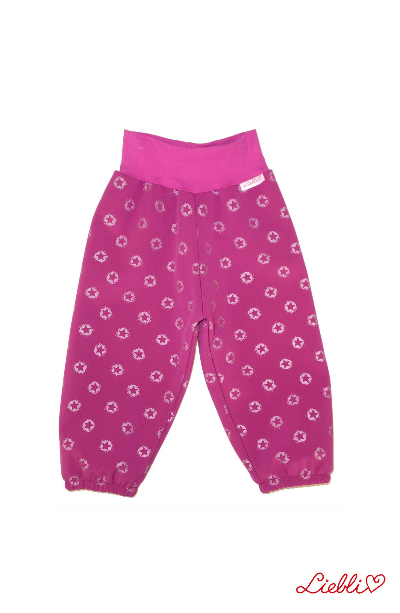 Softshell Hose für Kinder, Outdoor Hose, Regenhose, pink mit reflektierenden Sternen