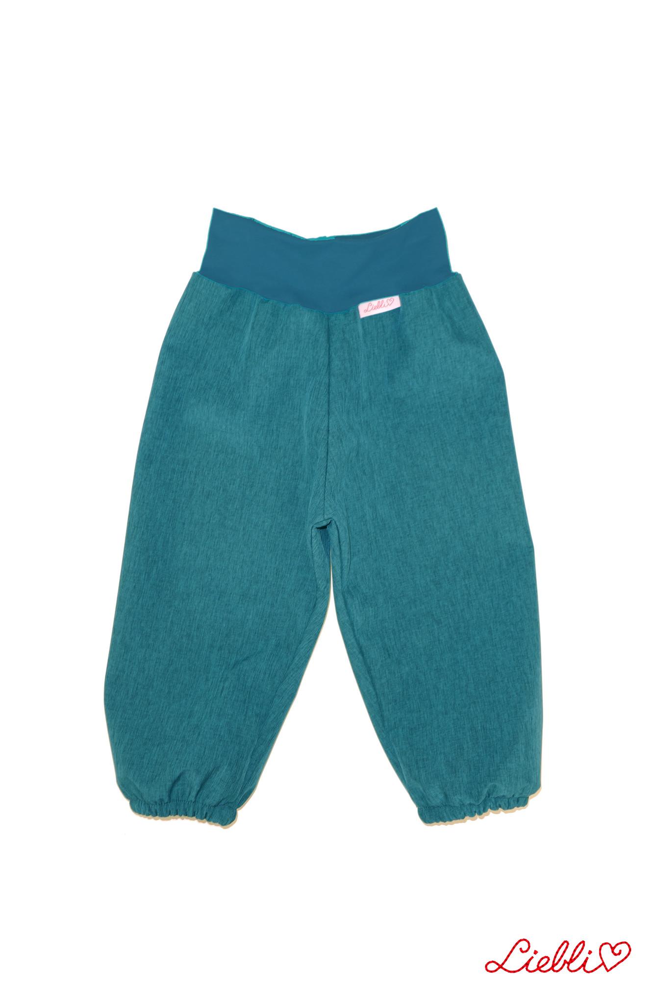 Softshell Hose für Kinder, Outdoor Hose, Regenhose petrol