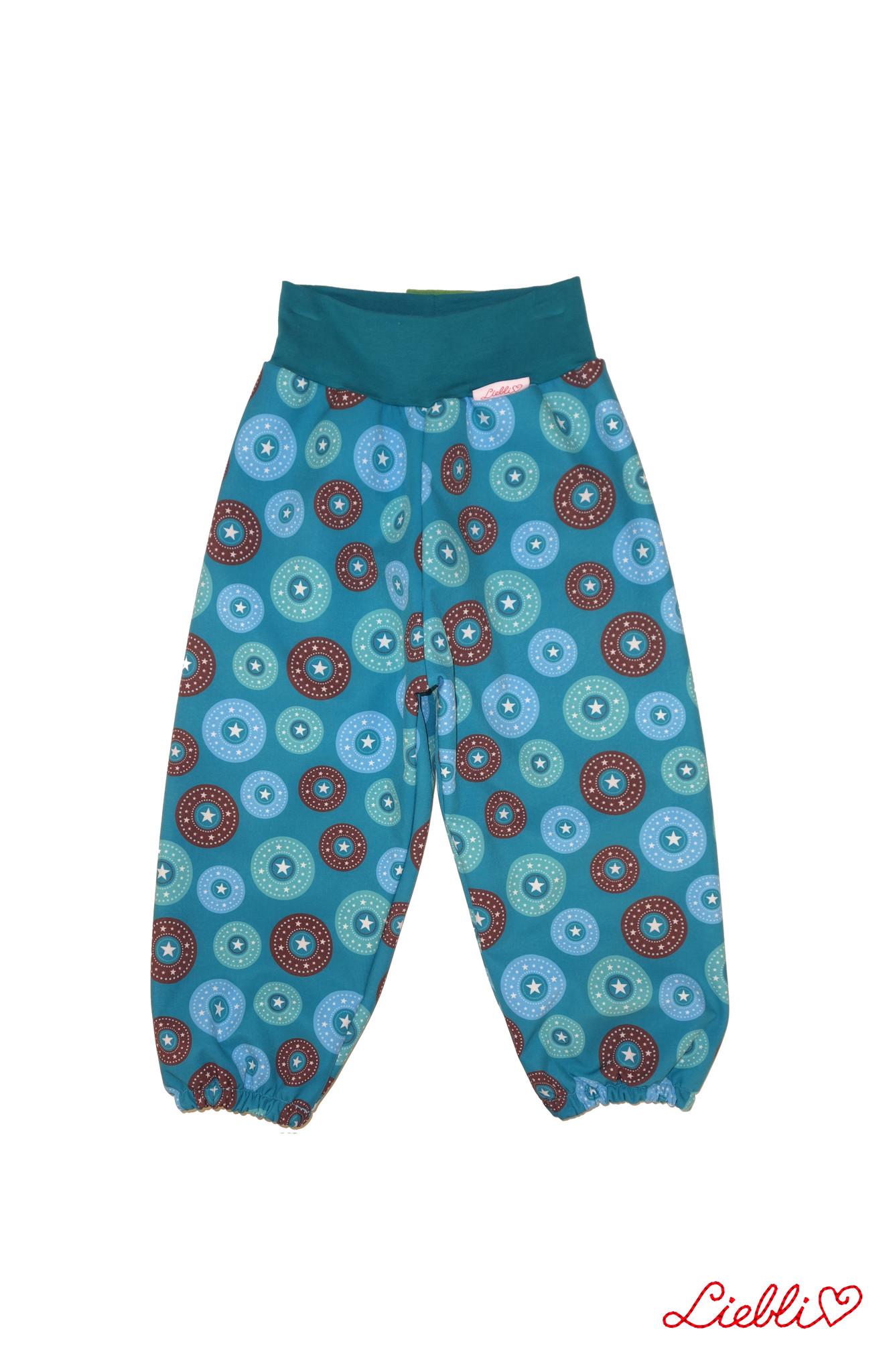 Softshell Hose für Kinder, Outdoor Hose, Regenhose petrol Sterne