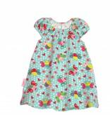 Bunte Tunika Kleid süße Schmetterlinge auf helltürkis