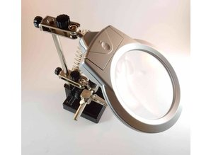 Third hand base with magnifier 90mm LED