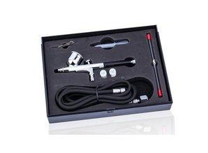 Airbrush pistool 7ml met 0,2 - 0,3 en 0,5mm naald/nozzle en slang
