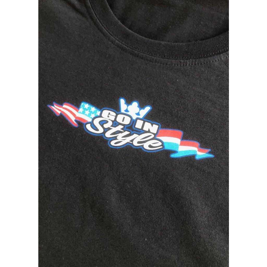 T-Shirt #gewoongis zwart met full colour bedrukking