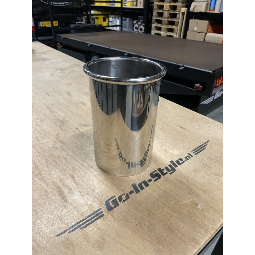 Stainless polished exhaust tip 129mm with seamed edge