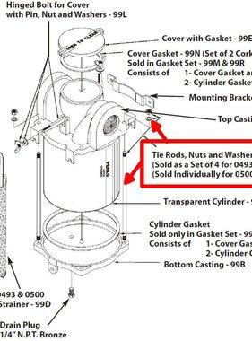 Perko Filtro de agua de admisión - Varillas, tuercas y arandelas de repuesto