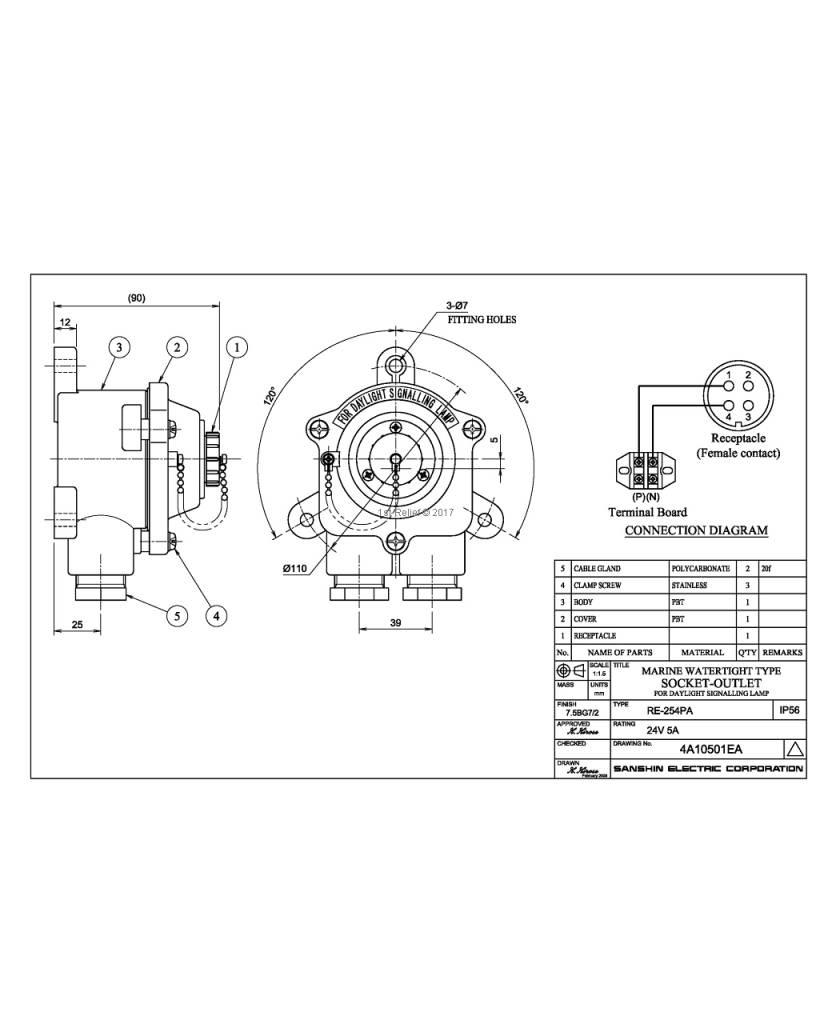 Sanshin La superficie montó receptáculo de conexión para ALDIS lámpara (estanco al agua, IP65)