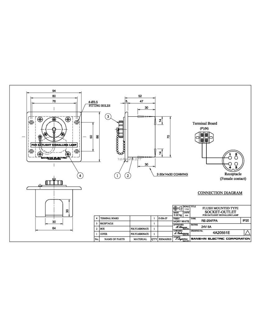 Sanshin Inbouw aansluitdoos voor ALDIS lamp (niet waterdicht, IP20)