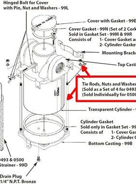 Perko Colador de agua de entrada grande - Varillas de unión, tuercas y arandelas de repuesto