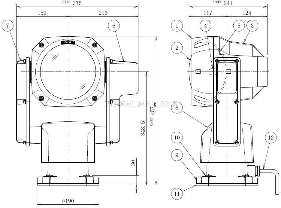 """Sanshin 7 """"Xenon Robo Zoeklicht (230 VAC / 150 W) met lamp, bedieningspaneel CPF196 en 2 m kabel"""