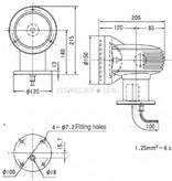 """Sanshin 4,5"""" Halo Cabin Searchlight (12 VDC / 55 W) with lamp, control panel CPF79 and 1 m cable"""