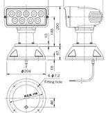 """Sanshin 7x3 """"Wireless Control LED Cabin Zoeklicht (12 - 24 VDC / 38 W) met lamp, afstandsbedieningspaneel en kabel"""