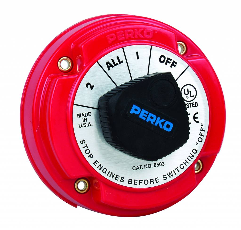 Perko Medium Battery Selector Switch (optional with Alternator Field Disconnect (AFD) and key lock)