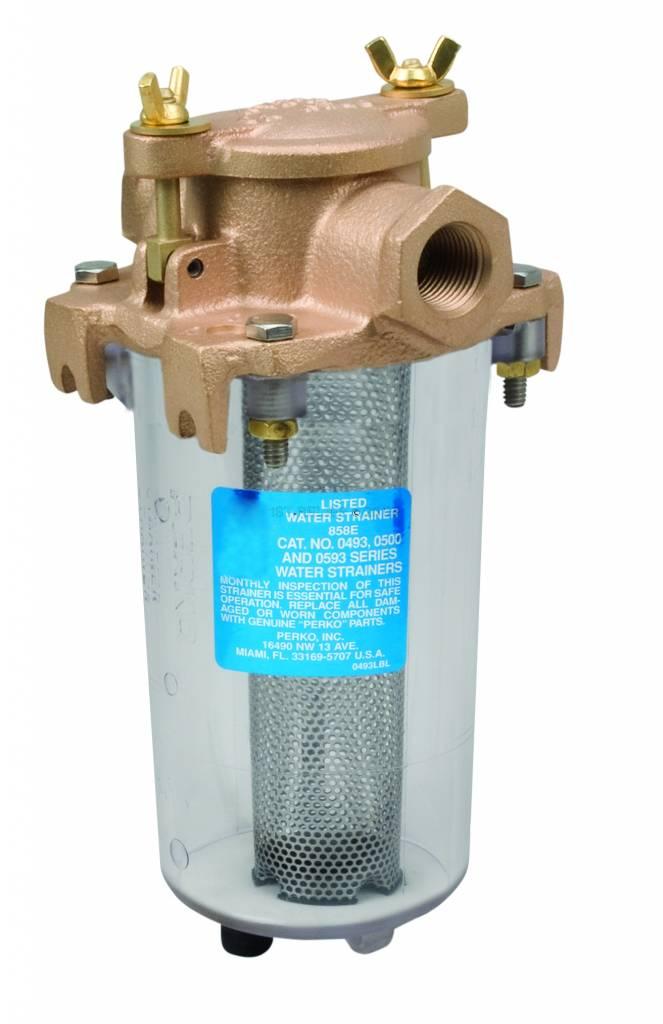 Perko Kompakter Einlasswasserfilter mit durchsichtigem Zylinder