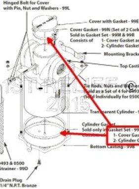 Perko Assunzione di acqua Filtro - Guarnizione di ricambio Kit di gomma