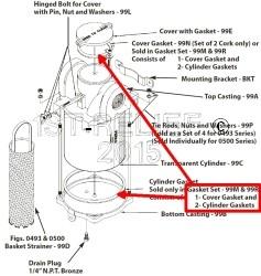 Perko Grote Intake Water Filter - Reserve pakking Kit CORK voor oudere modellen (1 pakking, 2 Cilinder pakkingen)