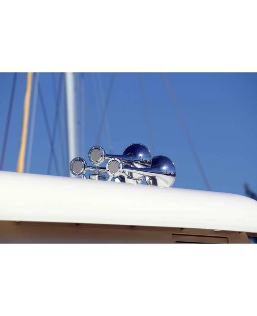 Kahlenberg T-0A Schiffshorn, drei Trompeten, White Powder Coat Finish oder Chrome Finish