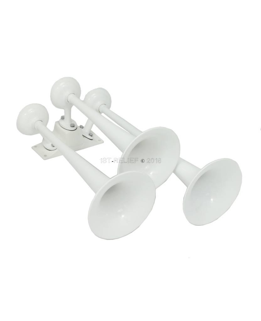 Kahlenberg T-0A Schiffhorn, drei Trompeten, weiß pulverbeschichtet oder verchromt