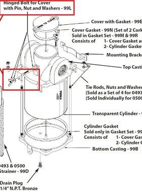 Perko Filtro de agua de admisión - repuesto bisagras Tornillo para la cubierta