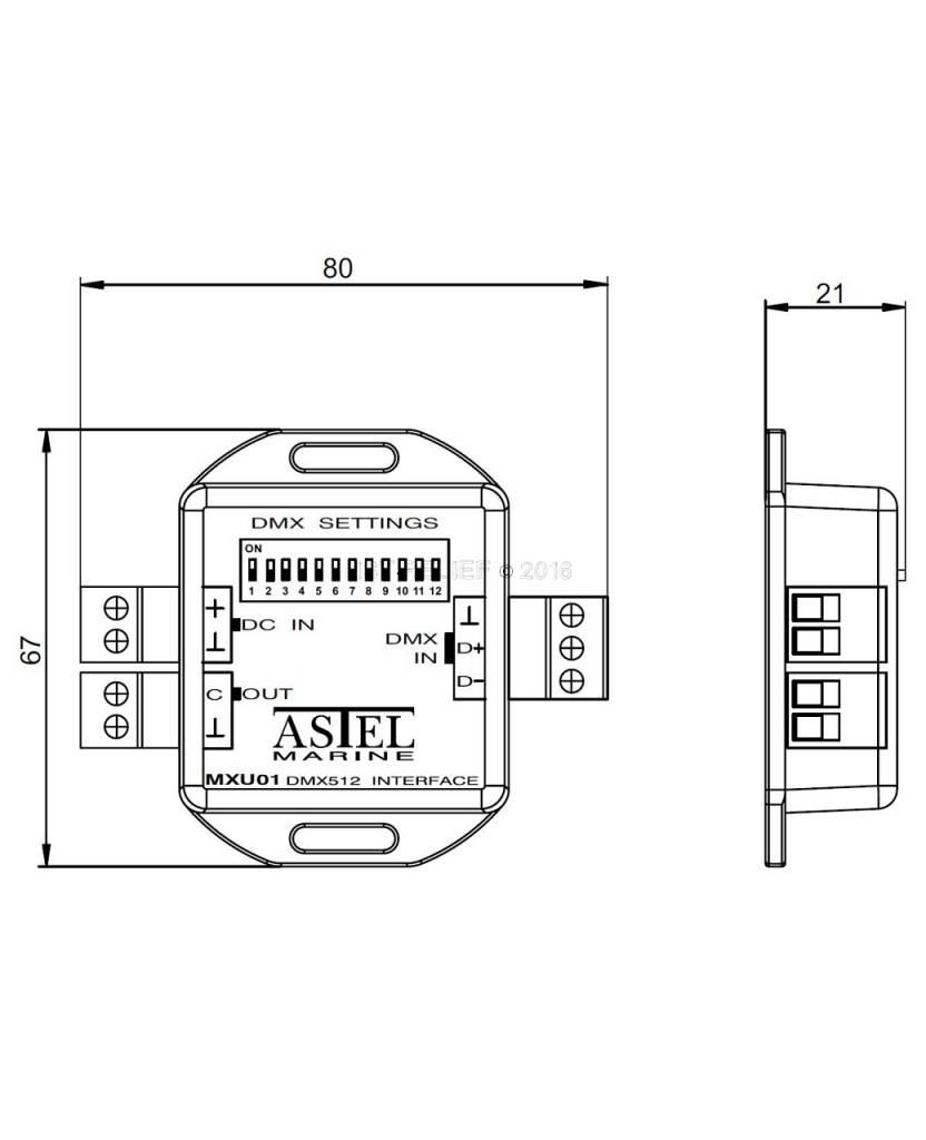 Astel DMX512-Schnittstelle MXU01 Lichtsteuersystem nach dem Standard DMX512 digitales Kommunikationsnetzwerk verwendet wird.