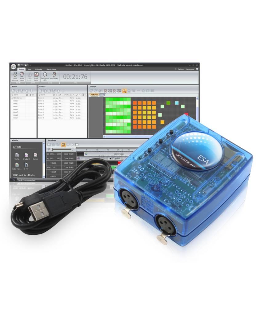 Nicolaudie DMX512-Controller SLESA-UE7 mit USB und Ethernet