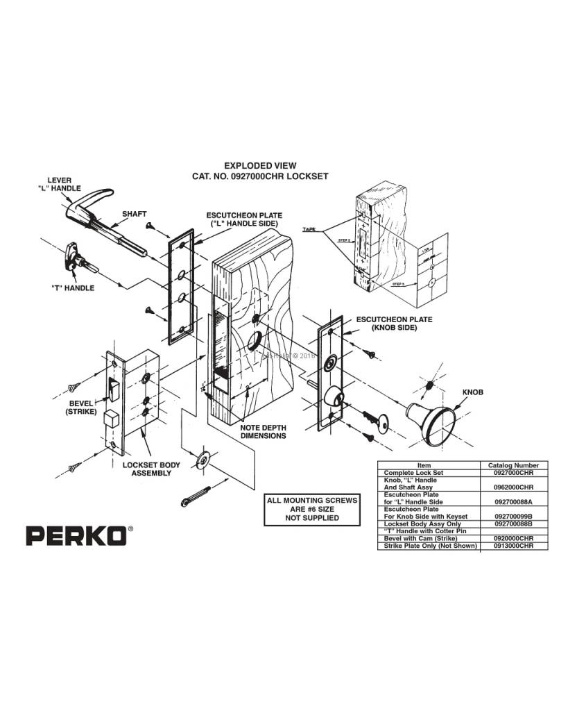 Perko Врезной замок Набор с кнопкой поворота