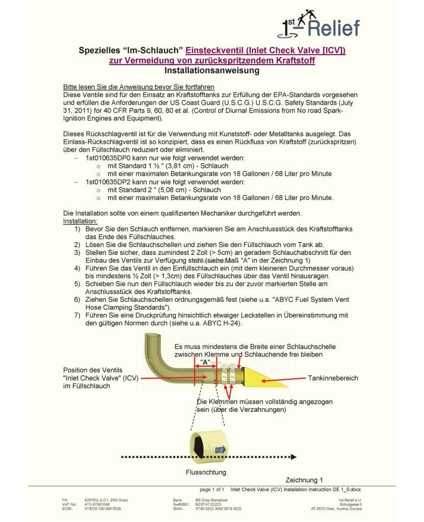 """Perko """"В шланге"""" Впускной обратный клапан (ICV), чтобы уменьшить или устранить обратный поток топлива (ну обратно и выплюнуть обратно)"""