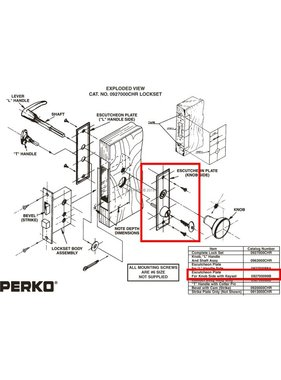 Perko Cabindoor - запасной Щиток Тарелка с ключами