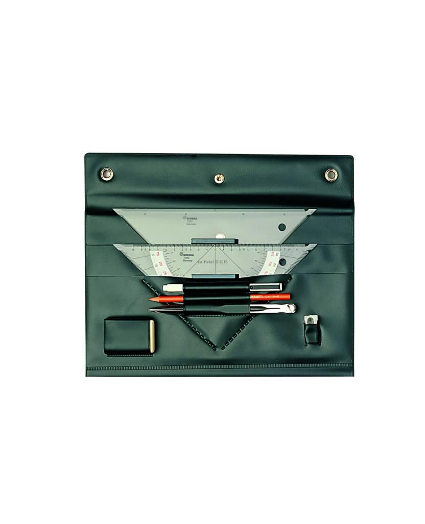 ECOBRA Navigations / Skipper-Set 2000 Marinezirkel, Kurs- und Anlegedreieck, Bleistift und Kugelschreiber, Radiergummi und Bleistiftspitzer.