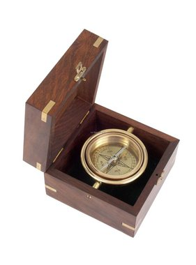 ECOBRA Nostalgischer maritimer Tischkompass, Messing