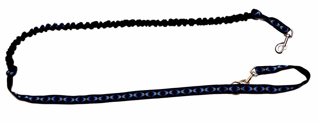 Zugleine mit integr.Ruckdämpfer - Schwarz/Muster