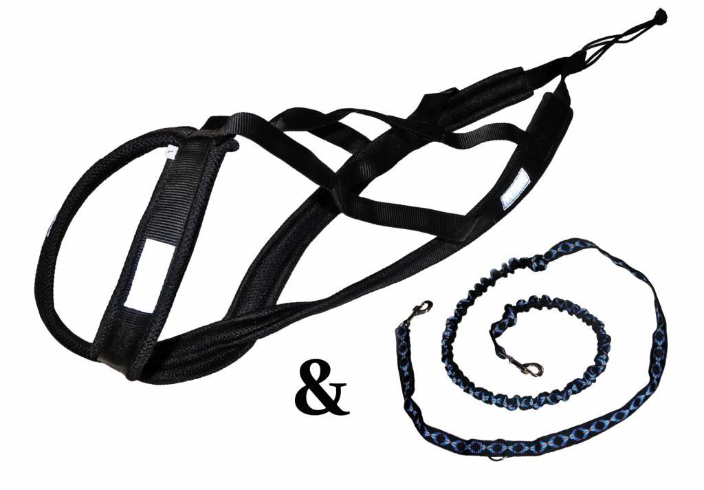 Weight Pulling Dog Harness, X - Back + Leash Style for Canicross, Bike, Sled, Scooter, Bike-, Ski-Joring, Jogging,... in black