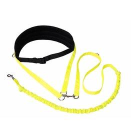 Handsfree Dog Walking Running Jogging Waist Belt + Leash with integrated Bungee - black neonyellow
