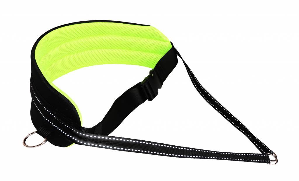 LasaLine Handsfree Dog Walking Running Jogging Waist Belt - Neonyellow Pedding/black